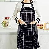 RenFox Schürze, Wasserdicht Kochschürze mit Taschen,Verstellbarem Küchenschürze in Profiqualität,Grillschürze,latzschürze,Küchenschürze (Schwarz-Weiß-Gitter) - 7