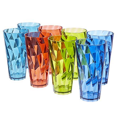 Optix 26-ounce Plastic Tumblers | set of 8 in 4 Basic Colors