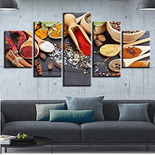 QWERGLL 5 Paneles Imágenes En Lienzo Restaurante Wall Art HD Impresiones 5 Piezas Cuchara Granos Especias Pinturas Cocina Comida Cartel Decoración para El Hogar