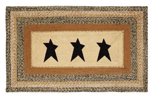 VHC Brands Kettle Grove Jute Stencil Star Rectangular Rug 36x60 Country Braided Flooring, Caramel Brown