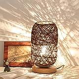 Spachy Rattan Tischlampe Nachttischlampe Lampen USB Nachttischlampe Romantisches Nachtlicht für Schlafzimmer, Kommode, Wohnzimmer, Babyzimmer, Büro
