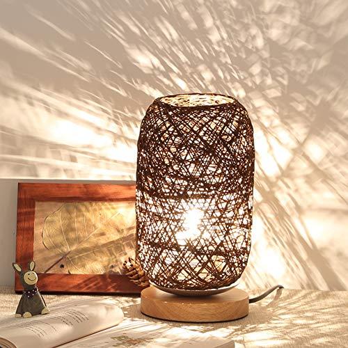 MCLseller - Lámpara de Mesa LED, con Cuerda de ratán, para Escritorio, con Puerto de Carga USB, marrón, Tamaño Libre