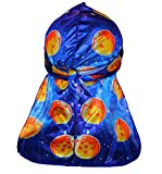 Design Durag- Anime Long Tail Silky Satin Doo Rag with Breathable and Stylish Wave Cap Design (Blue)