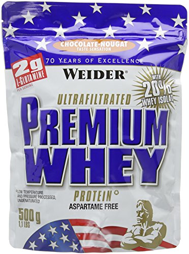 Weider Premium Whey Protein Powder, Chocolate Nougat, 33g of Protein Per Serving, Low Carb, Whey Protein Isolate, Rich in BCAA's, 500g