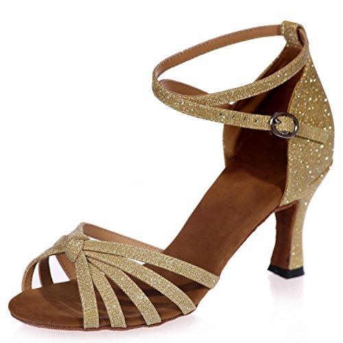 Frauen Kubanische Ferse Tanzschuhe Damen Latein Schuhe Matt Schnalle Plattform Jazz Glitter High Heel Ballsaal / 7,5 cm Ferse, Gold, 34