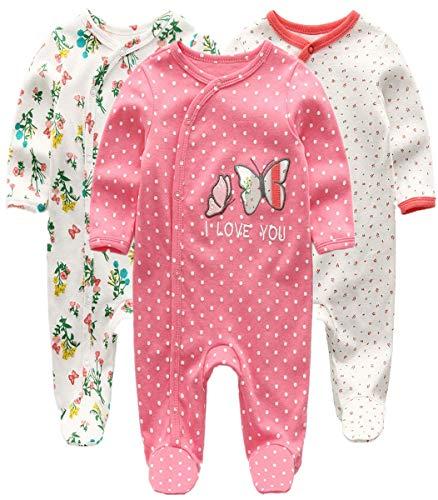 Kiddiezoom Pelele para bebé y niña, pack de 3 unidades Mariposa y flor. 6-9 Meses