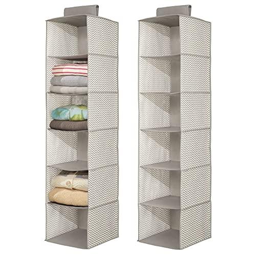 mDesign Set da 2 portaoggetti da appendere – Perfetto organizer armadio – Funzionale scaffale stoffa per vestiti e accessori – 6 ripiani – Pratico e multiuso – Colore: grigio