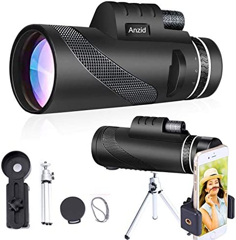 Monocular Telescope with Smartphone Holder Tripod 12X50 High Definition High Power Zoom BAK4 product image