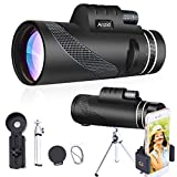Monocular Telescope with Smartphone Holder Tripod High Definition 12X50 High Power Waterproof Monocular Zoom BAK4 Prism Monocular for Bird Watching Hunting Camping Travelling Wildlife Secenery (Green)