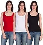 17Hills Women's Tank Top (Pack of 3) (Red|White|Black|S_Multicolor_Small)