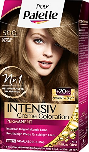 Poly Palette Intensiv Creme Coloration, 500 Dunkelblond Stufe 3, 3er Pack (3 x 115 ml)