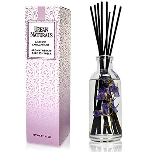 Urban Naturals Lavender Sandalwood Essential Oil Reed Diffuser Set with Natural Bamboo Reeds Sticks | Aromatic Lavender, Golden Amber & Woods | Vegan. Made in The USA