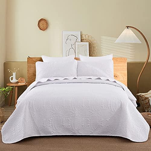 WONGS BEDDING Tagesdecke 220x240 cm Bettüberwurf Weiß Wohndecke Mikrofaser Gesteppter Bettdecke Doppelbett Stepp Decke als Schlafzimmer Steppdecke mit 2*50x70 cm Kissenbezug für Bett