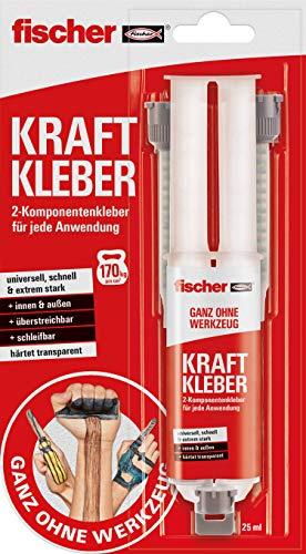 fischer KRAFTKLEBER, 2-Komponenten-Klebstoff in Transparent, Universalkleber für jede Anwendung, für innen & außen, zuverlässiger Reparatur-Helfer, 25 ml