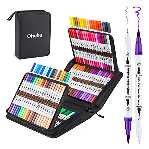 Ohuhu Art Markers, Dual Tips, 120 Colors Marker Set, Coloring Brush Fineliner Color Pens, Water Based Marker for Calligraphy Drawing Sketching Coloring Bullet Journal Back To School White Package