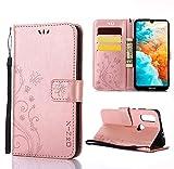 XINKO Huawei Y6 2019 Hülle, Retro Blumen Muster Design -[Ultra Slim][Card Slot] Wallet Tasche Hülle für Huawei Y6 2019 (Roségold)