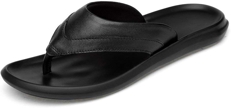 Oudan 2018 Sandalen Männer Casual Thong Flip Flops Schuhe aus echtem Leder Strand Hausschuhe Rutschfeste Sohle Sandalen (Farbe   schwarz, Größe   45 EU) (Farbe   Schwarz, Größe   43 EU)    Garantiere Qualität und Quantität