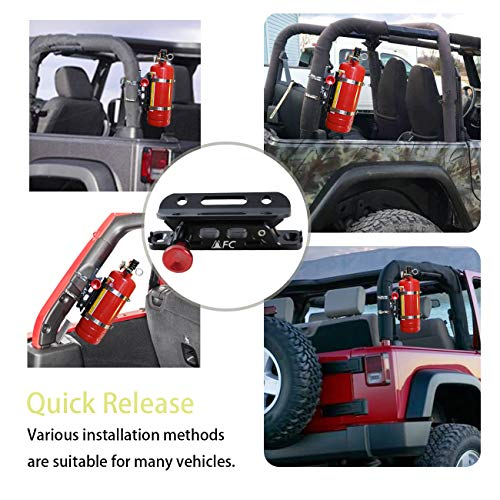MFC New Universal Adjustable Roll Bar Fire Extinguisher Mount Bottle Holder with 8 Clamps (four sizes) Fit for Jeep Wrangler TJ JK JKU JL UTV Polaris RZR Ranger, Aluminum