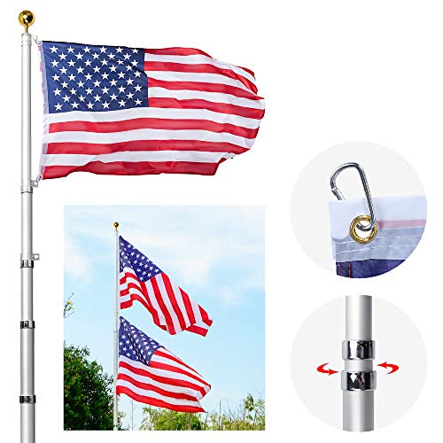 AkTop 20FT telescoping Flag Poles kit, Portable Heavy Duty 16 Gauge Aluminum in ground American Flag Pole with 3x5 USA Flag for Outdoor Commercial or Residential, Silver