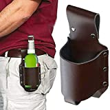 cakunmik pu leather beer holster with waist belt, portable bag, suitable for most small bottles, cowboy holsters, soda drinks, wine for travel and, party, wedding, occasion,a
