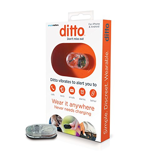 Simple Matters, Ditto Vibrating Notification Device for People with Hearing Loss, Waterproof, iOS & Android Compatible, Clear