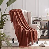 NexHome Throw Blankets for Couch Rust Decorative Knit Blanket with Tassel Soft Lightweight Zigzag Textured Boho Throws Terracotta (50'x60' Rust Brown)