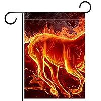 庭の旗、庭の装飾屋外看板吊り飾り、火炎馬 、テラス鉢植えデッキ用12x18インチ
