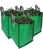 Sacs à déchets verts robustes, 120 litres, 1 à 5 sacs, qualité supérieure, tissu industriel et poignées (5 sacs)