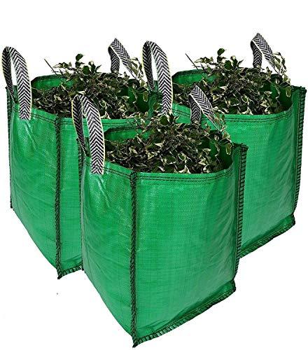 Garden Waste Bags - 120 Litre - 1 to 5 Sacks - PREMIUM GRADE - Industrial Fabric and Handles - Heavy Duty Garden/Green Waste Sacks (3 sacks)