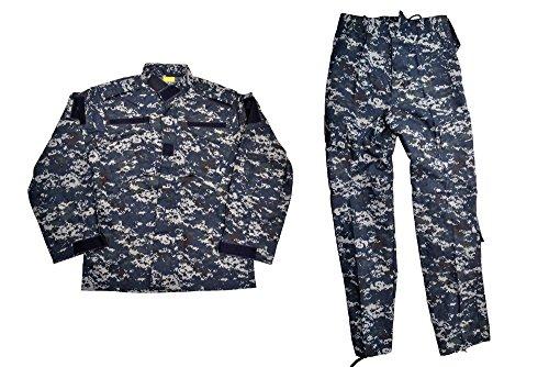 BWOLF製 迷彩服 戦闘服 ジャケット&パンツ 上下セット NWU迷彩 米海軍 US Navy ネイビー ピクセルブルー デジタルブルー (L)