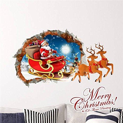 philmat 3D Père Noël Sled pag Stickers Sticker mural Sticker Home Decor cadeau de Noël Mur trou