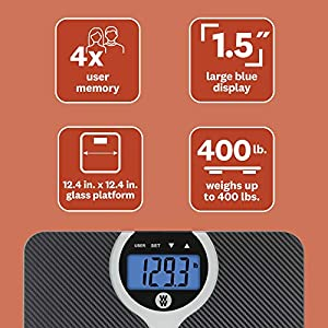 WW Scales by Conair Digital Weight and BMI (Body Mass Index) Scale with Carbon Fiber Texture, Measures Weight to 400 pounds; Black – Weight Watchers Reimagined