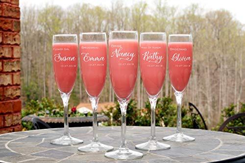 11 copas de champán personalizadas para regalo de novia, boda, fiesta o ducha, grabadas con láser, para dama de honor, novia