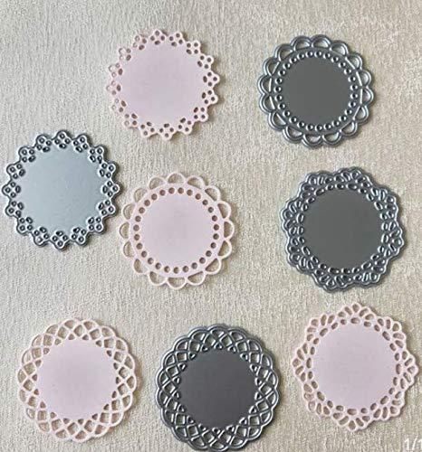 Koolstofstaal, reliëfvormig, ponsvorm, rond, vierdelige puzzel, handgemaakt, voor het maken van kaarten.
