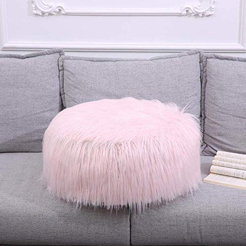 Comfortabel Zhuyue Faux Schapenvacht zitzak zachte vacht Bean Bag Fluffy Kleine Ronde Lazy Bean Bag Sofa Portable opblaasbare Christmas Decor-Pink_China