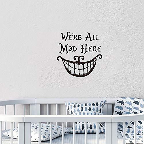 pegatina niño pegatina de pared We'Re All Mad Here Cita Etiqueta de la Puerta Alicia en el País de las Maravillas Vivero para Niños Habitación de Bebé Decoración para el Hogar