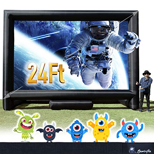 24FT Inflatable Mega Movie Screen Outdoor - Front and Rear Projection - Portable Blow Up Projector Screen for Grand Parties,...
