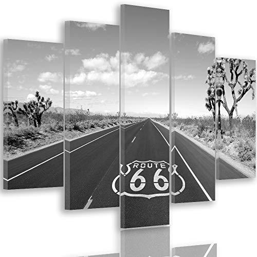 Feeby Frames, Tableau multi panneau 5 parties, Tableau imprimé xxl, Tableau imprimé sur toile, Tableau deco, Pentaptyque Type A, 70x100 cm, ROUTE 66, NOIR ET BLANC
