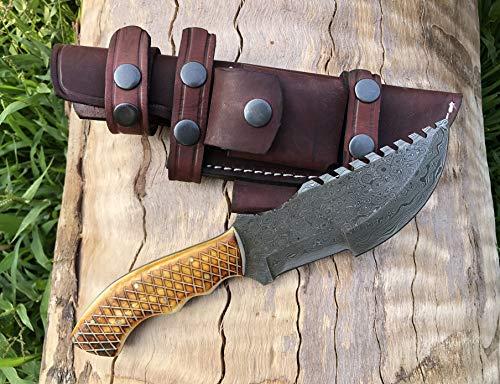 Custom Handmade Damascus Tracker Knife with Bone Handle Knife Fixed Blade - Hunting Knife with 100% Pure Cowhide Leather Sheaths Horizontal