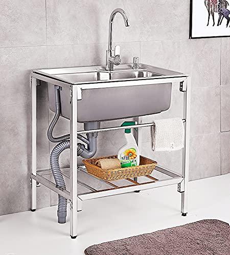 Fregadero de cocina, fregaderos de acero inoxidable, con soporte de jabón para platos, dispensador de jabón, grifo, colador, manguera de nylon, gabinete de fregaderos de cocina de un solo tazón