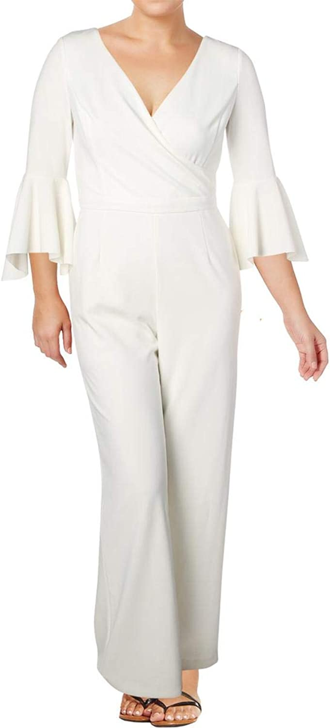 Lauren Ralph Lauren Womens Sheltonara VNeck Office Wear Jumpsuit Ivory 10
