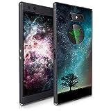 kwmobile cover compatibile con razer phone 2 - stampa uv in tpu bordo trasparente - custodia protettiva - natura e spazio blu/grigio/nero
