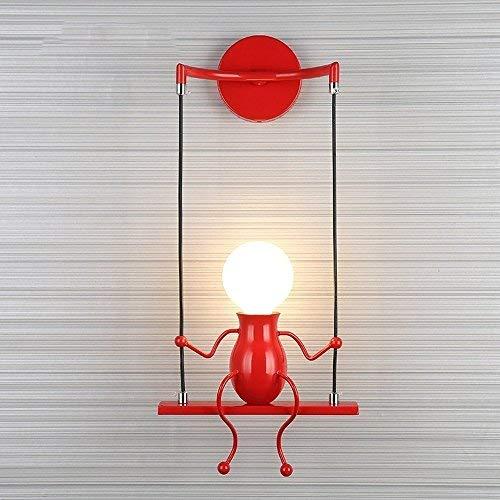 FSTH Einfache Wandleuchte Schwingen Metall Wandleuchte Kreatives Wandlampe Cartoon Lampe für Bar, Schlafzimmer, Küche, Restaurant, Café, Flur E27 (Rot)