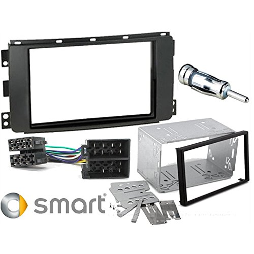 Sound Way Kit Montaggio Autoradio, Mascherina 2 DIN con Plancia Metallica, Connettore ISO, Adattatore Antenna Compatibile con Smart 451 ForTwo, Smart Forfour