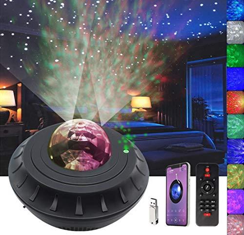 Nachtlicht Sternenprojektor mit Timer & Fernbedienung, Affe Home 2 in 1 Ozeanwellen-Projektor für Baby Kinder Schlafzimmer / Spielzimmer / Heimkino, eingebauter Musik-Lautsprecher