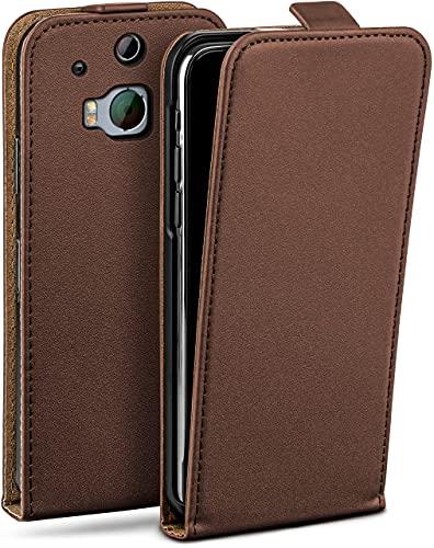 moex Flip Hülle für HTC One M8 / M8s - Hülle klappbar, 360 Grad Klapphülle aus Vegan Leder, Handytasche mit vertikaler Klappe, magnetisch - Dunkelbraun
