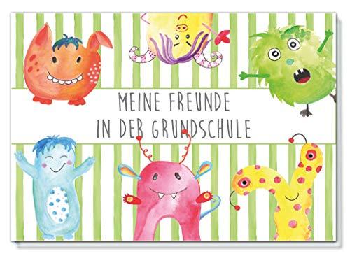 Freundebuch für die Grundschule / Motiv Kleine Monster / 48 Seiten DIN A5 Querformat Hardcover / liebevoll von Hand illustriert / für Mädchen und Jungen (Grundschul Freundebuch)