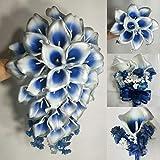 Silver Navy Blue Calla Lily Bridal Wedding Bouquet Accessories