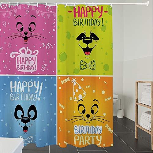 Derun Duschvorhänge, Textil Bad Vorhang aus Polyester, Anti-Schimmel, Geburtstag Dekorationen für Kinder, Cartoon Tiere Katze Panda Gesicht Partyartike,Blickdicht, Wasserdicht, Waschbar, 180X200cm