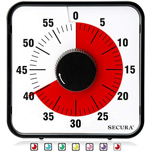 Secura 60-Minute Visual Countdown Timer, 7.5-Inch Oversize Classroom Visual Timer for Kids and Adults, Durable Mechanical Kitchen Timer Clock with Magnetic Backing (Red)